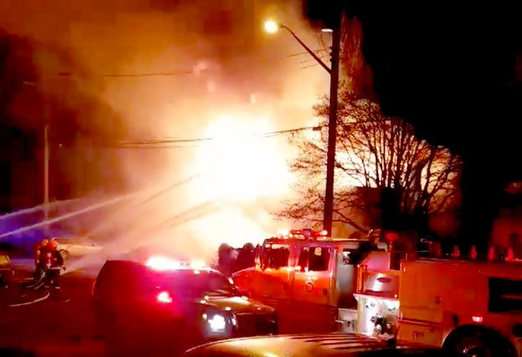 One man missing after three-house fire in Cumberland - My Comox