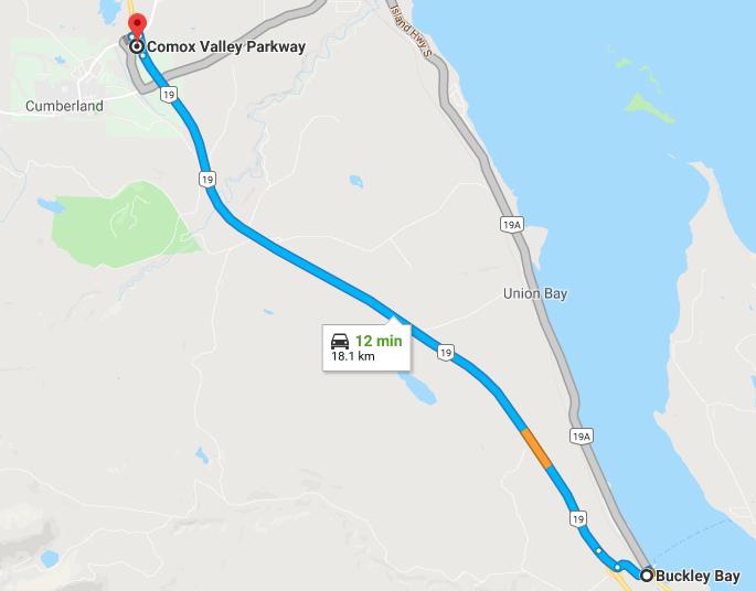 Which Exit Island Highway Buckley Bay